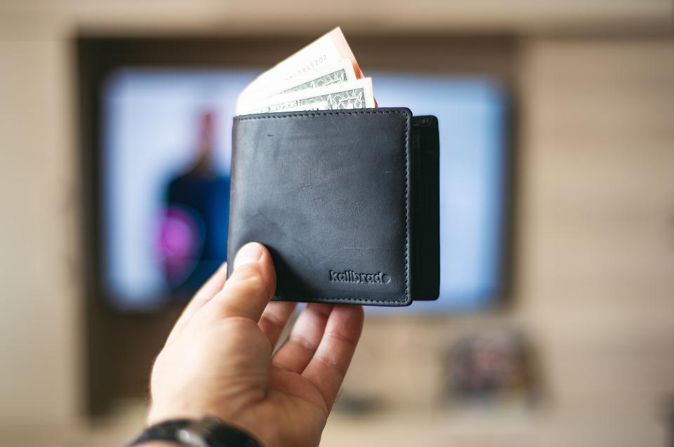 peněženka s dolary